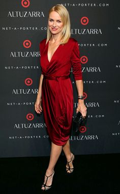 Naomi Watts from Stars at New York Fashion Week Spring 2015  The actress looked stunning in scarlett at the Altuzarra for Target launch party.