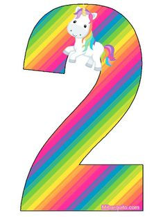 Birthday Letters, Birthday Numbers, Rainbow Birthday Party, Unicorn Birthday, Mlp Unicorn, Unicorns, Number Two, Letters And Numbers, Paper Flowers