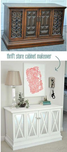 Thrift Store Cabinet Makeover - Thrift S. The post Thrift Store Cabinet Makeover appeared first on WMN Diy. Diy Furniture Cheap, Diy Furniture Hacks, Refurbished Furniture, Furniture Layout, Repurposed Furniture, Rustic Furniture, Furniture Makeover, Furniture Decor, Furniture Online