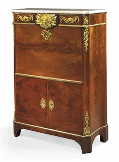A LOUIS XVI ORMOLU-MOUNTED 'ACAJOU FLAMME' SECRETAIRE-A-ABATTANT -  ATTRIBUTED…