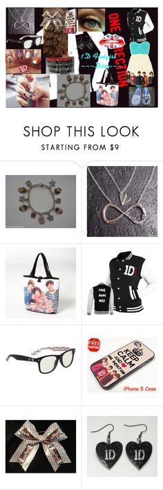 """1D Fangirl Day"" by kaylabug0706 ❤ liked on Polyvore featuring Retrò, charm bracelets, hair bows, varsity jackets, over-the-shoulder bag, fangirl, nail art, one direction and 1d"