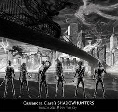 The spine art of the new TMI covers - each book has a piece, and when they are placed together, you can see the whole picture.
