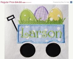 ON SALE 30 OFF Easter Egg Wagon Applique by SimplySweetEmbroider, $2.80
