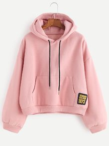 c11f52a7911e9 Pink Drop Shoulder Embroidered Patch Drawstring Hooded Sweatshirt