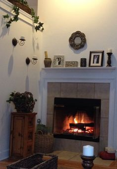 This is my fireplace. Christmas without a real fire is not Christmas. The scent of the burning wood. Love it. -Mari