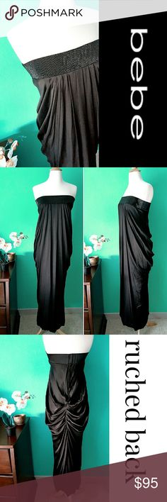 """Empress"" Hilda Maxi Dress 100% silk, absolutely beautiful dress. Pleated front, ruched back, fully lined with back zipper. Black beads front detail. Lining: 95% silk 5% spandex.  14"" across chest but the beaded part is elastic for better fit. 49"" full length. Would fit a size 0-2. Comes with few extra beads. bebe Dresses Maxi"