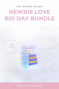 Spoil your new members this recruitment with the Newbie Love bundle! Gift bag includes a sorority decal, hair tie set, and button set. Phi Sigma Sigma Gifts   Phi Sigma Sigma Bid Day   Phi Sig New Member Gifts   PhiSig Rush Gift Bags   Phi Sigma Sigma Recruitment   Sorority Bid Day   Sorority Recruitment   Bid Day Bags   Sorority New Member Gift Ideas #BidDayGifts #SororityRecruitment Alpha Epsilon Phi, Phi Sigma Sigma, Sorority Bid Day, Sorority Recruitment, Bid Day Gifts, Delta Chi, Tie Set, Day Bag, Hair Tie