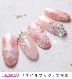油絵のような立体ラインに囲まれた桜ネイルは、ゴージャスで特別感たっぷり!スワロフスキー クリスタルピクシーで春の陽だまりを受ければ、キラキラ感も最高潮に。。♡入学式をはじめ、セレモニーシーンで華やかさを演出してくれますよ✨(id:3958837) Cute Nails, Pretty Nails, Japan Nail Art, Asian Nails, Soft Nails, Nail Art Techniques, Easter Nail Art, French Nail Art, Japanese Nails
