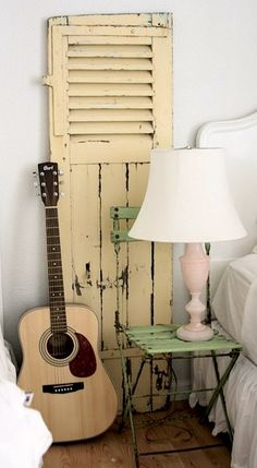 reclaimed shutter and folding chair for vintage teen girl room