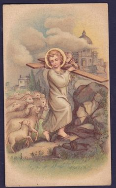OLD HOLY CARD 1920s GERMANY INFANT JESUS CHRIST CRUCIFIX AGNUS DEI 11X6CM H332