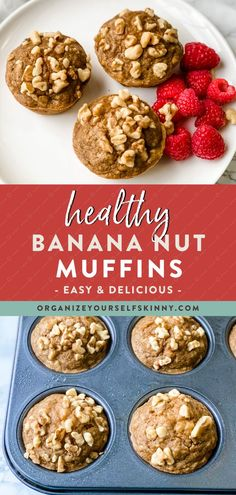 Healthy Banana Nut Muffins | Healthy Baking Recipes - Looking for the perfect make-ahead snack the entire family will love? These muffins are moist, delicious, and gluten-free. This easy banana muffin recipe comes together in under 30 minutes and uses only one bowl. Make a batch to freeze for a quick healthy breakfast or after school snack. Organize Yourself Skinny | Healthy Banana Recipes | Healthy Desserts Recipes | Healthy Muffin Recipes | Weight Loss Recipes #muffins #snackrecipes #healthy Banana Muffin Recipe Easy, Healthy Banana Recipes, Healthy Desserts For Kids, Ripe Banana Recipe, Banana Nut Muffins, Quick Easy Desserts, Healthy Muffins, Quick Snacks, Healthy Dessert Recipes