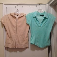 BUNDLE 2X: Light Turquiose top & beige hoody! Comfy light turquoise terry cloth material top & beige terry cloth short sleeve hoody with a zipper. Can be worn as sporty or casual! Both size small. Can b paired with jeans, shorts, sweats, depending on ur style & mood!Tthe turquoise top has a small bleach stain on the bottom not very visible bc it blends in. (Pic shown) Bundle to save on shipping! NO TRADES!!! Sorry Voice Tops