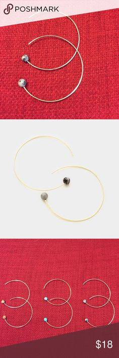 "Gold hoop earrings with gray/black stone These 1.5"" gold hoop earrings, with 4 mm mini gray/black colored stones, have dainty, thin hoops that are light as a feather in your ear! ❤️ (Turquoise and brown stones can be found in separate listing.) Farah Jewelry Jewelry Earrings"