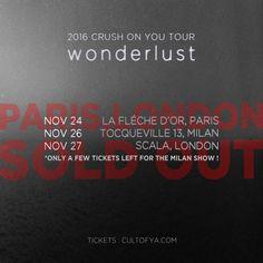 [Crush] 2016 CRUSH ON YOU TOUR 'wonderlust' in EU  Paris and London shows have sold out and there's only a few tickets left for the Milan show !   파리 & 런던 티켓매진!! 밀라노 티켓매진 임박!!   #크러쉬 #Crush #단독콘서트 #Concert #2016CRUSHONYOUTOUR #2016크러쉬온유투어 #wonderlust #원더러스트 #Europe #유럽 #Paris #파리 #Milan #밀라노 #London #런던