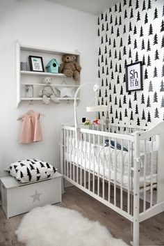Another Scandinavian style nursery decorated in black and white. Simple and modern.