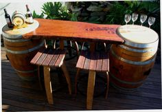 WINE BARREL REDGUM TIMBER BAR / TABLE / BARSTOOLS / REDGUM SLAB / BARWARE / WOOD