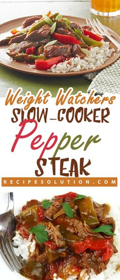 """Slow-Cooker Pepper Steak - LOSS MEALS - With these recipes it's now easier """"and healthy tastier"""" than ever before to stay on track with your HEALTHY goals. Ingredients Time : 4 h 30 m Crockpot Steak Recipes, Healthy Steak Recipes, Crockpot Pepper Steak, Sirloin Steak Recipes, Beef Sirloin, Ww Recipes, Slow Cooker Recipes, Steak Meals, Recipies"""