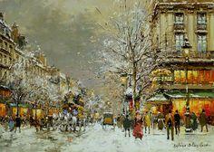 Antoine Blanchard  (1910 - 1988)  Boulevard des Capucines et Cafe de la Paix en Hiver