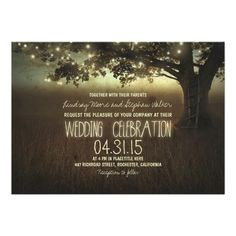 rustic tree wedding invitations // string of lights wedding invites // light string wedding #rusticweddinginvitations customizable wedding invitations, at http://www.zazzle.com/string_of_lights_rustic_wedding_invitation-161061562560583257?rf=238395237176455059
