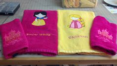 Applique and embroidery on towel.  One of several centered around the princesses.  LynniePinnie.com embroidery design.