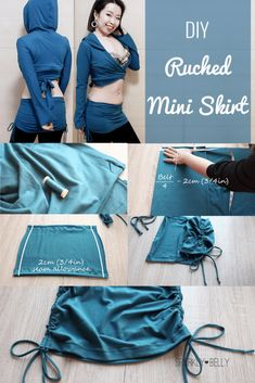 Check out this easy DIY ruched mini skirt overskirt! Comes with cute scrunched sides and great for dance lessons & yoga! Dance Outfits, New Outfits, Yoga Skirt, Skirt Patterns Sewing, Clothes Patterns, Ballroom Dance Dresses, Belly Dance Costumes, Argentine Tango, T Shirt Diy