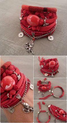 Gypsy Soul Red Bohemian Bracelet Pack by vanessahandmade on Etsy