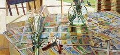 "Boyd Gavin, ""Kitchen Table"", oil on canvas Still Life, Oil On Canvas, Book Art, Sculptures, Fair Grounds, Fun, Paintings, Models, Kitchen"