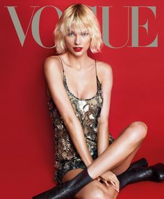Taylor Swift lands her third Vogue cover! See her in the most stunning and futuristic sequined and jeweled dresses for spring.
