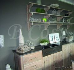 Lee&Lewis Kitchen Legplank Oud Dennehout Olive 200 Poolhousekeuken-Poolhouse keuken-Buitenkeuken