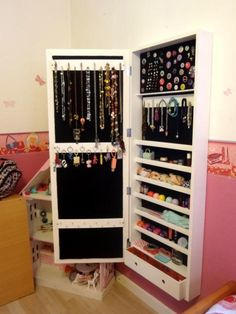 Wall Mounted Jewelry Armoire, Dressing Room Design, Decoration, Home Decor, House Decorations, Mirror Jewelry Storage, Hooks For Hanging, Jewels, Decor