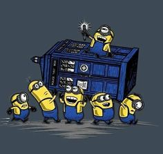 The T.A.R.D.I.S , dr. Who with the minions