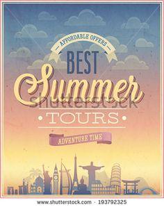 Summer tours poster. Vector illustration.