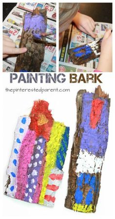 Painting bark process art. Painting on nature and texture. Kid's arts
