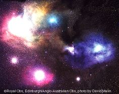 March 12, 1996:     The Colorful Clouds of Rho Ophiuchi  -   Credit: Photograph made from plates taken with the UK Schmidt Telescope. Color photography by David Malin. Copyright: Royal Observatory, Edinburgh, Anglo-Australian Observatory   -   Explanation: The many spectacular colors of the Rho Ophiuchi (oh'-fee-yu-kee) clouds highlight the many processes that occur there. The blue regions shine primarily by reflected light. Blue light from the star rho Ophiuchi and...  More...