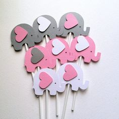Elephant Cupcake Toppers in Pink White & Gray. Baby shower