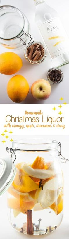 Make this homemade Christmas Liquor with apples, oranges, cinnamon and more! It& the perfect little gift for your relatives or co-workers. Homemade Alcohol, Homemade Liquor, Vegan Christmas, Christmas Drinks, Holiday Drinks, Alcohol Recipes, Flavored Alcohol, Gin Recipes, Infused Vodka