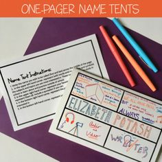 First Day: Name Tent One-Pagers by Spark Creativity First Day Of School Activities, 1st Day Of School, Beginning Of The School Year, Middle School Syllabus, School Week, Name Tent, 7th Grade Ela, Teaching Strategies, Avid Strategies