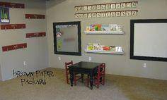 playroom wall  | framed magnet board & white board} - Simply Kierste