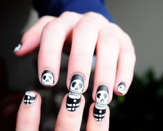 Skeleton Halloween Handpainted Fake Nails by OnceUponANail on Etsy https://www.etsy.com/listing/206056977/skeleton-halloween-handpainted-fake