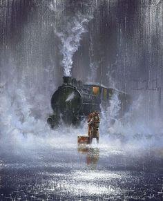 Waiting in the rain for their train.