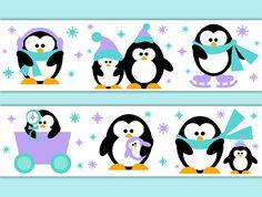 PENGUIN WALLPAPER BORDER Decal Wall Art Girl Nursery Arctic Animal Stickers Room Decor Baby Shower Decorations Kids Winter Snow Wonderland Teal Aqua Lavender #decampstudios