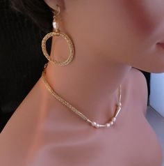 Viking knit and freshwater pearl earring by ArtisticJewelrybyPLT, $90.00