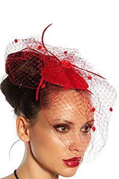 Haarschmuck mit Schleier für #Kostüm #Karneval Fasching oder #Burlesque - an der Innenseite der Kappe mit 2 Haarklammern zu befestigen - Mini-Hut Fascinator | *Werbung