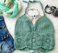 Aqua Lace Top, Bohemian Crochet Top, Crochet Gypsy Top, Crochet Halter Tank, Knit Top, Festival Clothing by MyAqua on Etsy