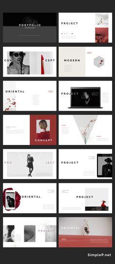 Oriental PowerPoint Template is a professional presentation to show your portfolio & ideas. Oriental is a Modern and Stylish presentation. Portfolio Presentation, Presentation Layout, Powerpoint Presentation Templates, Keynote Template, Flyer Template, Web Design, Book Design, Layout Design, Graphic Design