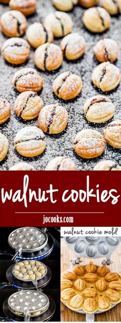 Walnut Cookies - walnut shaped cookies filled with a delicious walnut and Nutella filling. Festive, delicious and so adorable. Best Dessert Recipes, Fun Desserts, Sweet Recipes, Autumn Desserts, Almond Recipes, Baking Recipes, Cookie Recipes, Baking Ideas, Nutella Filled Cookies