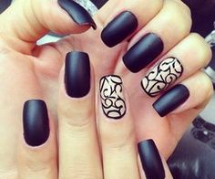 Matte look with print.  #Nail art
