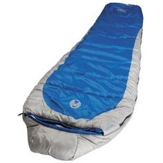 """Silverton 250 Mummy Sleeping Bag Specifications: - Storage: Stuff Sack - Temperature Range: 15 Degrees Fahrenheit - Size: 82"""" x 32"""" - Insulation: 46 oz. coletherm system - Cover: Polyester rip stop - Liner: Polyester - Color: Blue/Silver - Draft tube prevents heat loss through the zipper"""