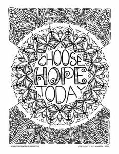 """Free """"Choose Hope Today"""" Coloring Page"""