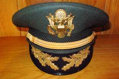 de5ad5beae5 US Army Officer Field Grade Military Green Service Dress Hat Vintage United  States Gulf War Era Size 7 5 8 Kingform Cap Deluxe 61 cm Bullion